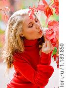 Купить «Красивая девушка в осеннем парке», фото № 1189850, снято 9 октября 2009 г. (c) Вероника Галкина / Фотобанк Лори