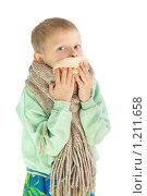 Купить «Мальчик закрывает нос платком», фото № 1211658, снято 23 января 2019 г. (c) Типляшина Евгения / Фотобанк Лори