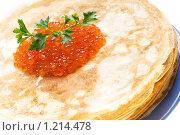 Купить «Блины с красной икрой на белом фоне», фото № 1214478, снято 14 ноября 2009 г. (c) Юлия Сайганова / Фотобанк Лори