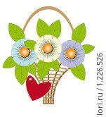 Купить «Букет цветов в корзине с открыткой в виде сердечка», иллюстрация № 1226526 (c) Анна Максимова / Фотобанк Лори