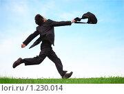 Купить «Бизнесмен бежит с сумкой по траве», фото № 1230014, снято 12 июня 2009 г. (c) Losevsky Pavel / Фотобанк Лори