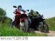 Купить «Два мотоциклисты  на проселочной дороге», фото № 1231218, снято 9 сентября 2009 г. (c) Losevsky Pavel / Фотобанк Лори
