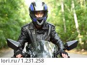 Купить «Мотоциклист», фото № 1231258, снято 9 сентября 2009 г. (c) Losevsky Pavel / Фотобанк Лори