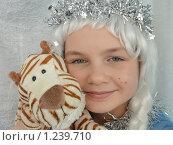"""Купить «Девочка в карнавальном костюме снегурочки с мягкой игрушкой """"тигренок""""», эксклюзивное фото № 1239710, снято 23 ноября 2009 г. (c) Ольга Линевская / Фотобанк Лори"""