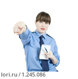 Купить «Девушка-милиционер указывает вперед», фото № 1245086, снято 15 ноября 2009 г. (c) Яков Филимонов / Фотобанк Лори