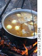 Купить «Приготовление шурпы на костре», фото № 1248994, снято 27 сентября 2009 г. (c) Gagara / Фотобанк Лори