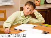 Мальчик за уроками. Стоковое фото, фотограф Константин Сидоров / Фотобанк Лори