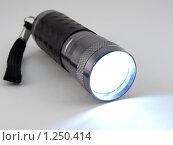 Купить «Светодиодный карманный фонарик с включенным светом», фото № 1250414, снято 16 сентября 2019 г. (c) Сергей Девяткин / Фотобанк Лори