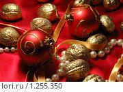 Купить «Новогодняя (рождественская) открытка с елочными игрушками и позолоченными орехами», фото № 1255350, снято 10 ноября 2009 г. (c) крижевская юлия валерьевна / Фотобанк Лори