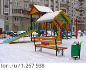 Купить «Детская площадка во дворе дома на улице Алтайская, район Гольяново, Москва», эксклюзивное фото № 1267938, снято 20 января 2009 г. (c) lana1501 / Фотобанк Лори