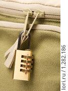 Купить «Кодовый замок на сумке», фото № 1282186, снято 1 июля 2009 г. (c) Александр Жильцов / Фотобанк Лори