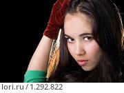 Купить «Портрет молодой брюнетки», фото № 1292822, снято 12 апреля 2009 г. (c) Сергей Сухоруков / Фотобанк Лори