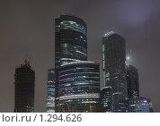 Москва-сити ночью (2009 год). Редакционное фото, фотограф Денис Шустиков / Фотобанк Лори