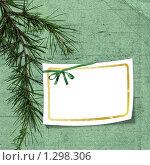 Купить «Бланк поздравительной открытки на зелёном фоне с еловой веткой», иллюстрация № 1298306 (c) Gatteriya / Фотобанк Лори