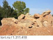 Купить «Большие камни на фоне деревьев и неба», фото № 1311418, снято 19 августа 2009 г. (c) Илья Телегин / Фотобанк Лори