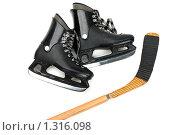 Купить «Коньки и клюшка для хоккея», фото № 1316098, снято 18 ноября 2009 г. (c) Илья Андриянов / Фотобанк Лори