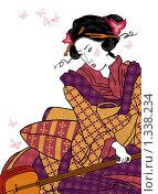 Купить «Японка, в стиле гравюры», иллюстрация № 1338234 (c) Neta / Фотобанк Лори