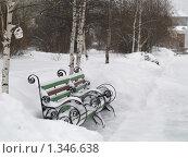 Зима. Скамейка в городском парке. Стоковое фото, фотограф Andrey M / Фотобанк Лори