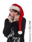 Купить «Портрет девушки в образе снегурочки в студии», фото № 1353786, снято 22 ноября 2009 г. (c) Наталья Белотелова / Фотобанк Лори