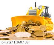 Купить «Желтый бульдозер и монеты на белом фоне», фото № 1360138, снято 10 января 2010 г. (c) Андрей Лавренов / Фотобанк Лори