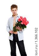Купить «Молодой человек с букетом роз», фото № 1366102, снято 2 марта 2009 г. (c) Алена Роот / Фотобанк Лори