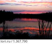 Закат на озере. Стоковое фото, фотограф Сергей Зимушин / Фотобанк Лори