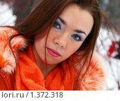 Купить «Зеленоглазая девушка в заснеженном парке», фото № 1372318, снято 27 декабря 2009 г. (c) Евдокимова Мария Борисовна / Фотобанк Лори