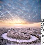 Купить «Воздушный вид заснеженного леса на фоне зимнего вечера», фото № 1376522, снято 27 сентября 2018 г. (c) Владимир Мельников / Фотобанк Лори