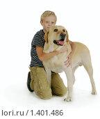 Мальчик обнимает собаку. Стоковое фото, фотограф Дарья Колесникова / Фотобанк Лори