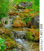 Родник стекает с гор по камням. Стоковое фото, фотограф Дарья Колесникова / Фотобанк Лори