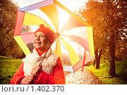 Купить «Красивая девочка с зонтиком», фото № 1402370, снято 30 сентября 2008 г. (c) Andrejs Pidjass / Фотобанк Лори