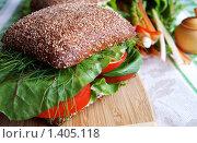 Сандвич из ржаного хлеба с помидорами, сыром и зеленью. Стоковое фото, фотограф Татьяна Емшанова / Фотобанк Лори