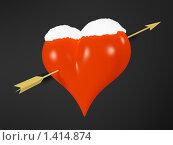 Сердце со стрелой под снегом на черном фоне, валентинка. Стоковая иллюстрация, иллюстратор Роман Зацаринин / Фотобанк Лори