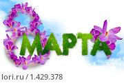 Купить «Надпись 8 марта из цветов и травы», фото № 1429378, снято 18 ноября 2018 г. (c) Ирина Апарина / Фотобанк Лори