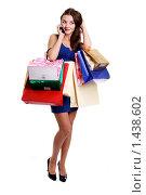 Купить «Шопинг - красивая молодая девушка с покупками в руках», фото № 1438602, снято 14 ноября 2009 г. (c) Андрей Аркуша / Фотобанк Лори