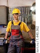 Купить «Девушка - фабричная работница», фото № 1440362, снято 30 мая 2009 г. (c) Andrejs Pidjass / Фотобанк Лори