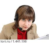 Купить «Девушка оператор в офисе изолировано на белом», фото № 1441198, снято 31 января 2010 г. (c) Alechandro / Фотобанк Лори