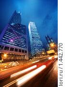 Купить «Скоростное движение в ночном городе», фото № 1442770, снято 12 ноября 2009 г. (c) Andrejs Pidjass / Фотобанк Лори