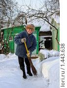 Купить «Пожилая женщина подметает дорожку на дачном участке», фото № 1443638, снято 31 января 2009 г. (c) Ирина Завьялова / Фотобанк Лори