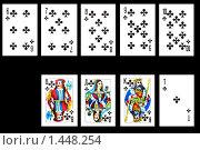 Купить «Игральные карты на черном фоне», фото № 1448254, снято 31 января 2010 г. (c) Угоренков Александр / Фотобанк Лори