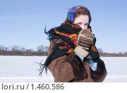 Купить «Девушка на фоне зимнего пейзажа», фото № 1460586, снято 22 февраля 2009 г. (c) Яков Филимонов / Фотобанк Лори