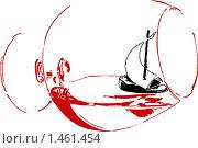 Кораблик из грецкого ореха в бокале. Стоковая иллюстрация, иллюстратор Светлана Арешкина / Фотобанк Лори