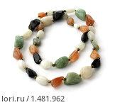 Купить «Крупные бусы из разных камней на белом фоне», фото № 1481962, снято 8 января 2010 г. (c) Милана Харитонова / Фотобанк Лори