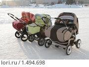 Купить «Детские коляски», эксклюзивное фото № 1494698, снято 21 февраля 2010 г. (c) Вячеслав Палес / Фотобанк Лори