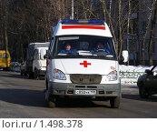 Купить «Москва. Машина скорой помощи едет по Сахалинской улице», эксклюзивное фото № 1498378, снято 16 февраля 2010 г. (c) lana1501 / Фотобанк Лори