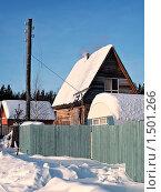 Купить «Около дачного дома столб с обрезанными электрическими проводами. Зима.», фото № 1501266, снято 22 февраля 2010 г. (c) Алексей Рогожа / Фотобанк Лори