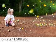 Купить «Девочка и бабочки», фото № 1508966, снято 7 декабря 2009 г. (c) Владимир Сурков / Фотобанк Лори