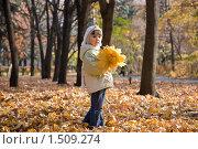 Купить «Девочка с кленовыми листьями», фото № 1509274, снято 18 января 2019 г. (c) Сорокина Юлия / Фотобанк Лори