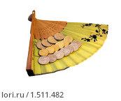 Купить «Долларовые монеты лежат на на полураскрытом веере, изолированно на белом фоне», фото № 1511482, снято 16 февраля 2010 г. (c) SevenOne / Фотобанк Лори