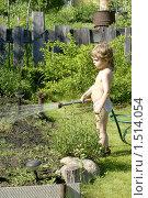 Купить «Мальчик летом из шланга поливает грядку», фото № 1514054, снято 1 июня 2009 г. (c) Михаил Борсов / Фотобанк Лори